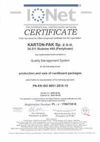 IQNET PN EN ISO 9001:2015-10 do 2021 r.